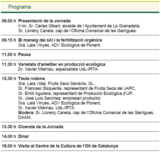 II Jornada ametller eco Programa